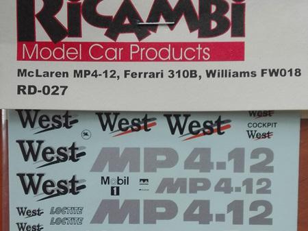 Ricambi Decals for McLaren MP4/12, Ferrari 310B & Williams FW018
