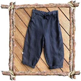 'Riley' Baggy Trousers, 'Navy' Pure Linen, 3 years