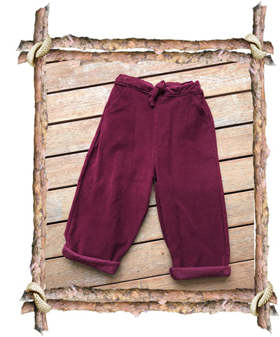 'Riley' Baggy Trousers, 'Wine' Corduroy, 100% Cotton, 3 years