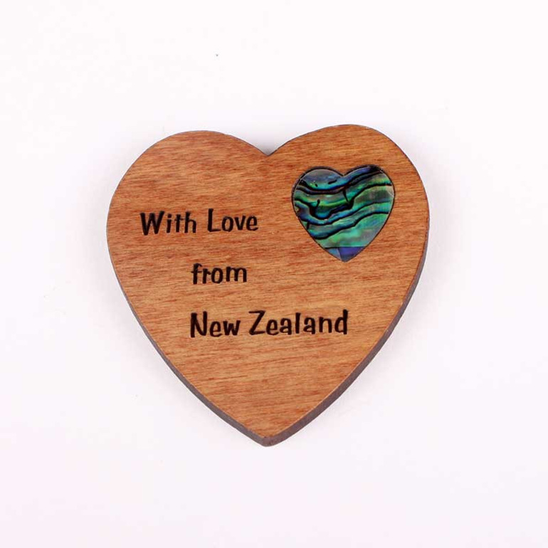 rimu fridge magnet with paua heart
