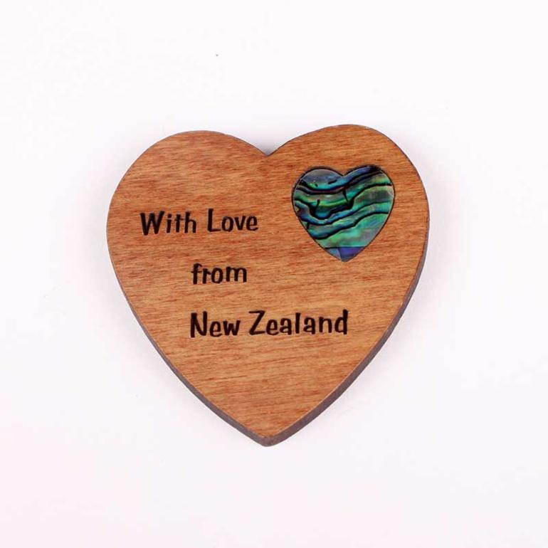 rimu fridge magnet with paua heart