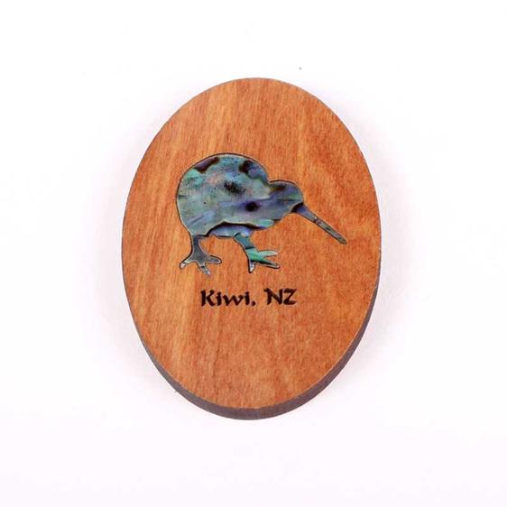rimu fridge magnet with paua kiwi