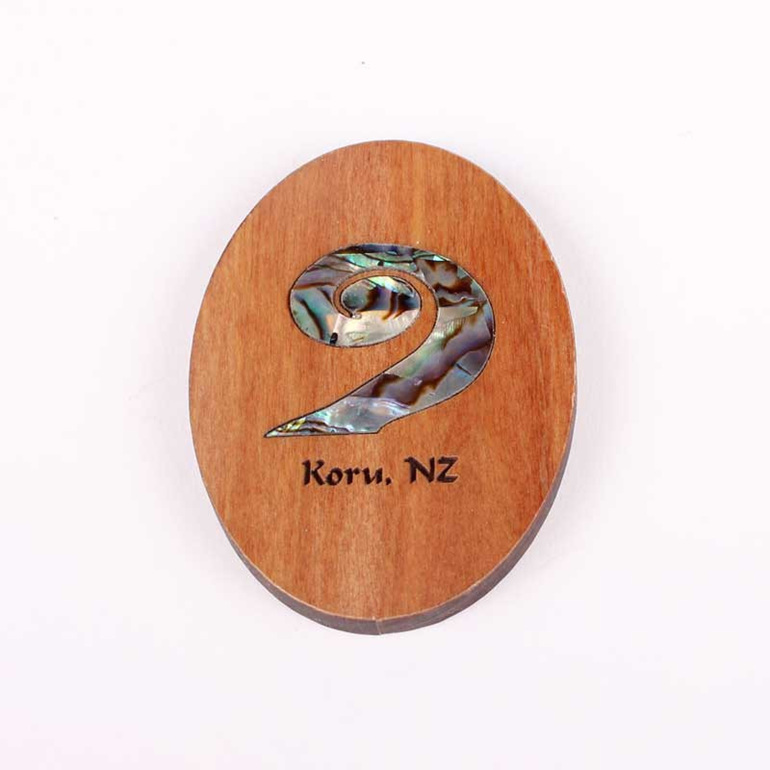 rimu fridge magnet with paua koru