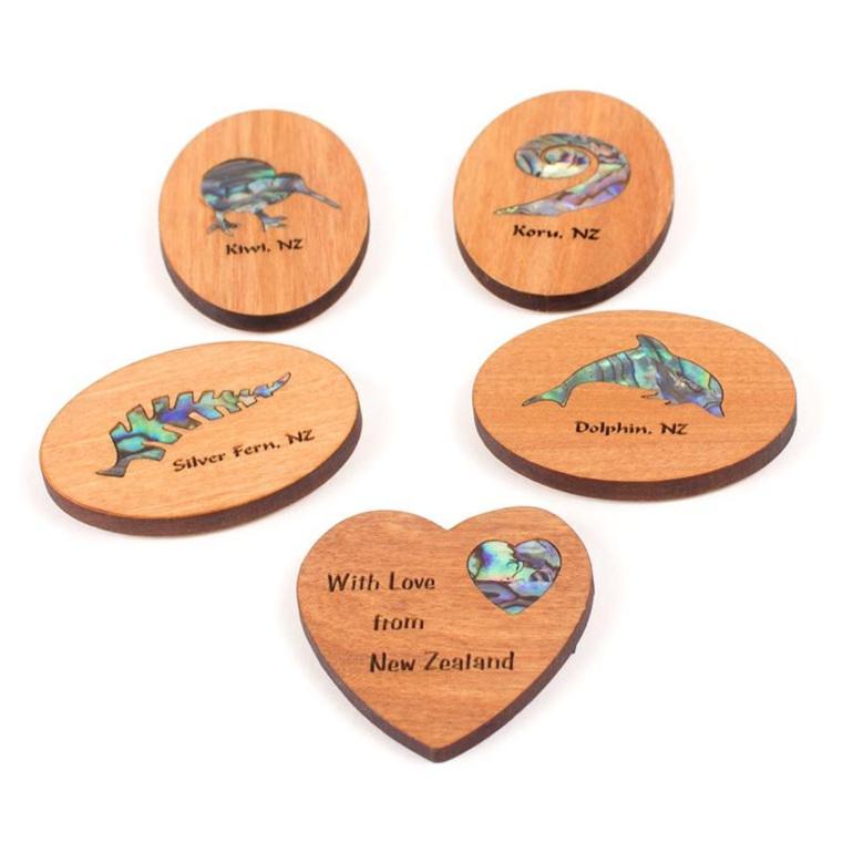 rimu fridge magnets with paua