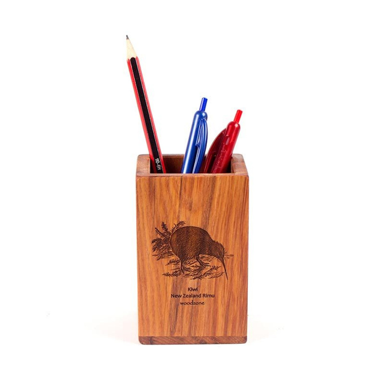 rimu pencil pot with bird engraved