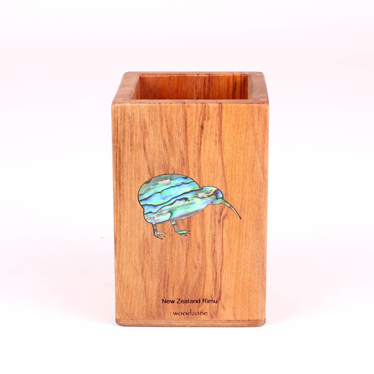 rimu pencil pot with paua kiwi