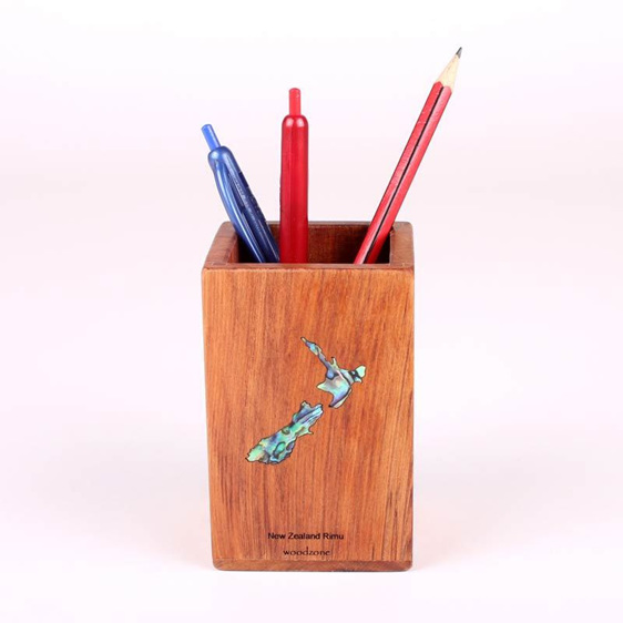 rimu pencil pot with paua map