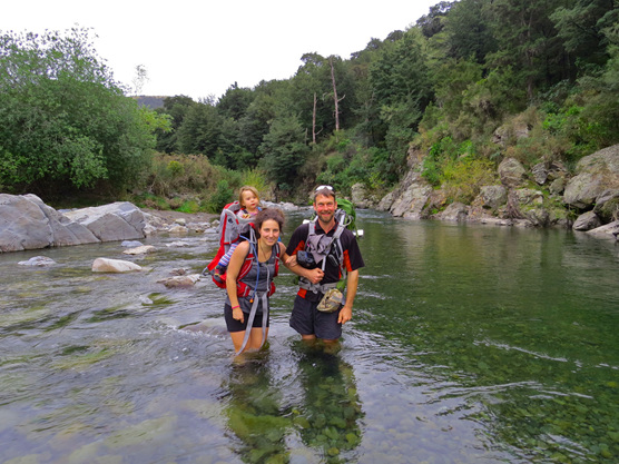 River crossing with a baby toddler hike in NZ