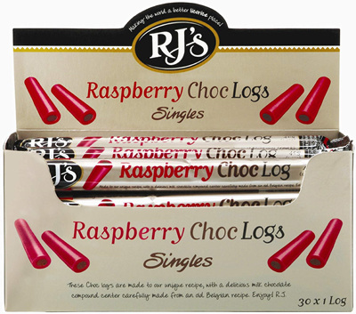 RJ's raspberry choc logs singles x 30