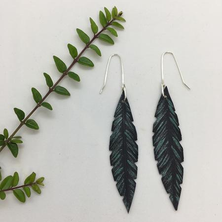 Robin Earrings with Green Fleck & Sterling Silver Hooks