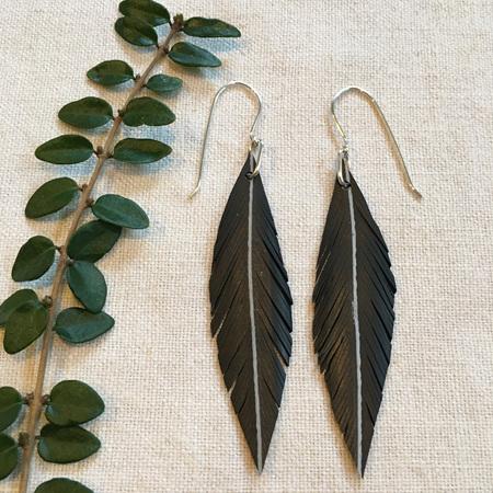 Robin Earrings with White Stripe