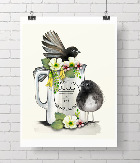 "Robins - made in NZ 8x10"" print"
