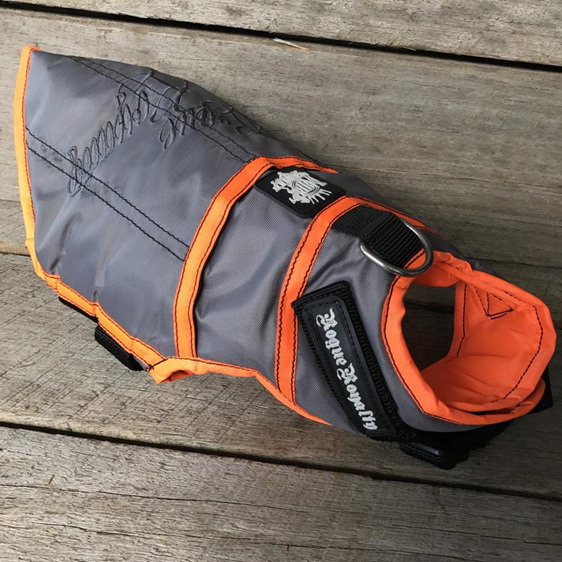 Rogue Royalty Dog Jacket Coat in Grey & Orange