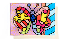Romero Britto - Glass Plate - Butterfly
