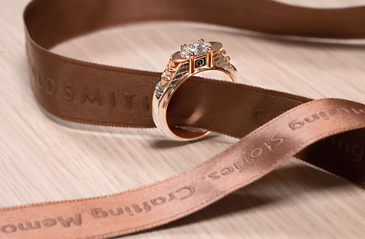 Rose and white gold Venice canal bridge inspired diamond engagement ring