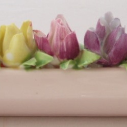 Rose buds in a row floral bone china