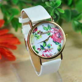 Rose Flower White Strap Ladies Watch