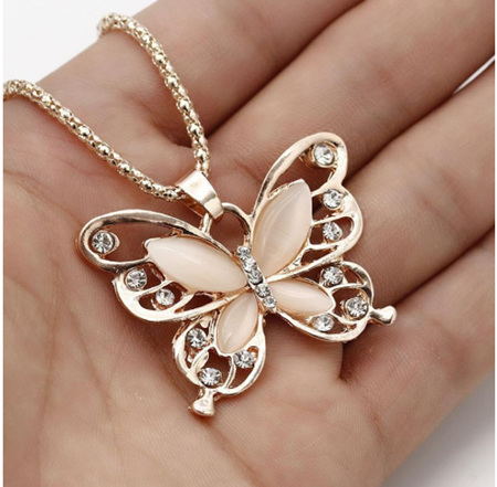 Rose Gold Butterfly Pendant Exquisite Necklace