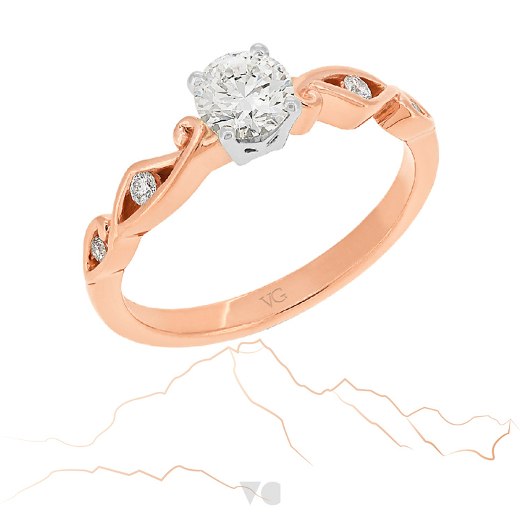 Rose Gold Diamond Engagement Ring: Aoraki ring