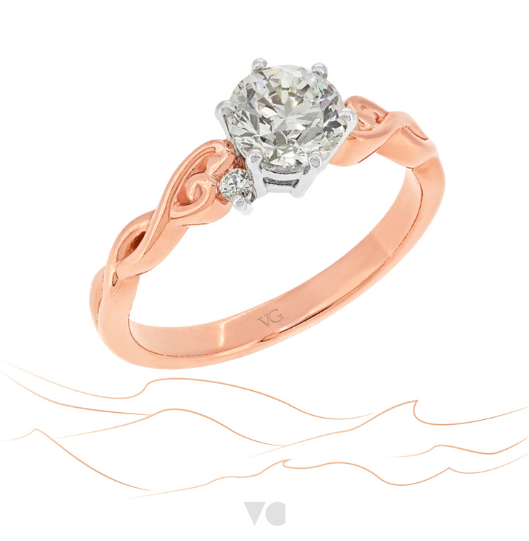 Rose Gold Diamond Engagement Ring: Cara ring