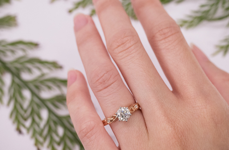 Rose Gold Diamond Engagement Ring: Furl ring