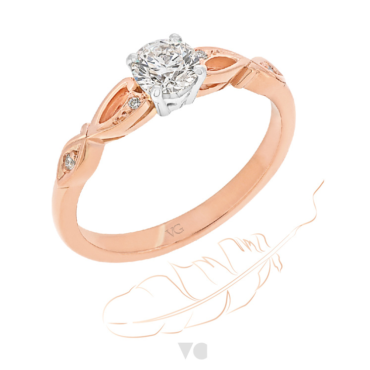 Rose Gold Diamond Engagement Ring: Tale ring