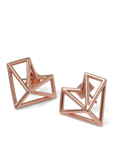 Rose Gold Geo Diamond Earrings