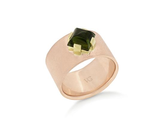 rose gold green tourmaline dress ring