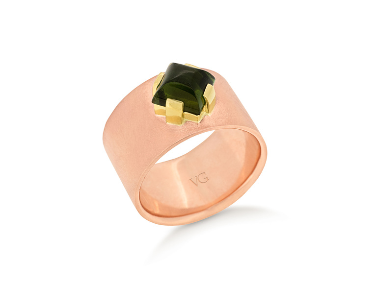 rose gold green tourmaline dress ring