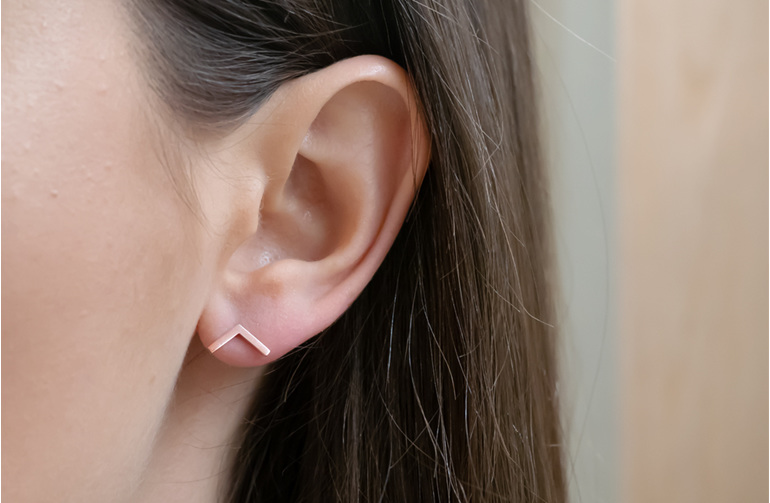 Rose Gold, Impulse Geo, Stud, Earrings, Whim