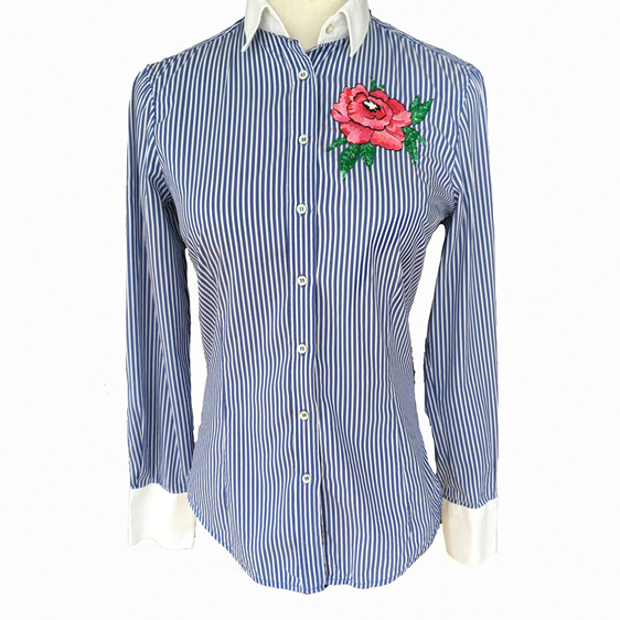 rose hand embroidered shirt