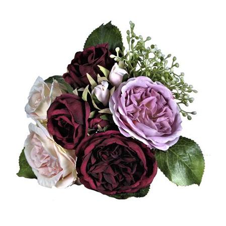 Rose Posy Burgundy Lilac 4538