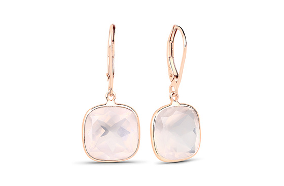 Rose Quartz and Gold Drop Earrings