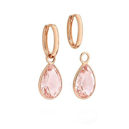 Rose Quartz Charm Rose Gold Huggie Earrings
