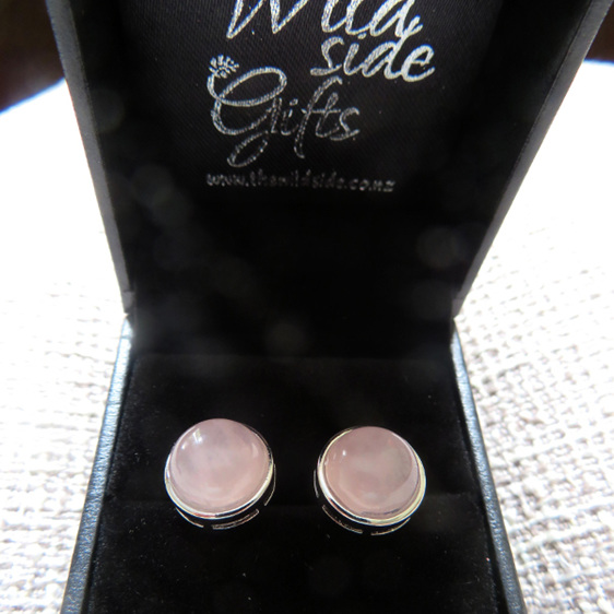 Rose Quartz Stud earrings in their jewellery box