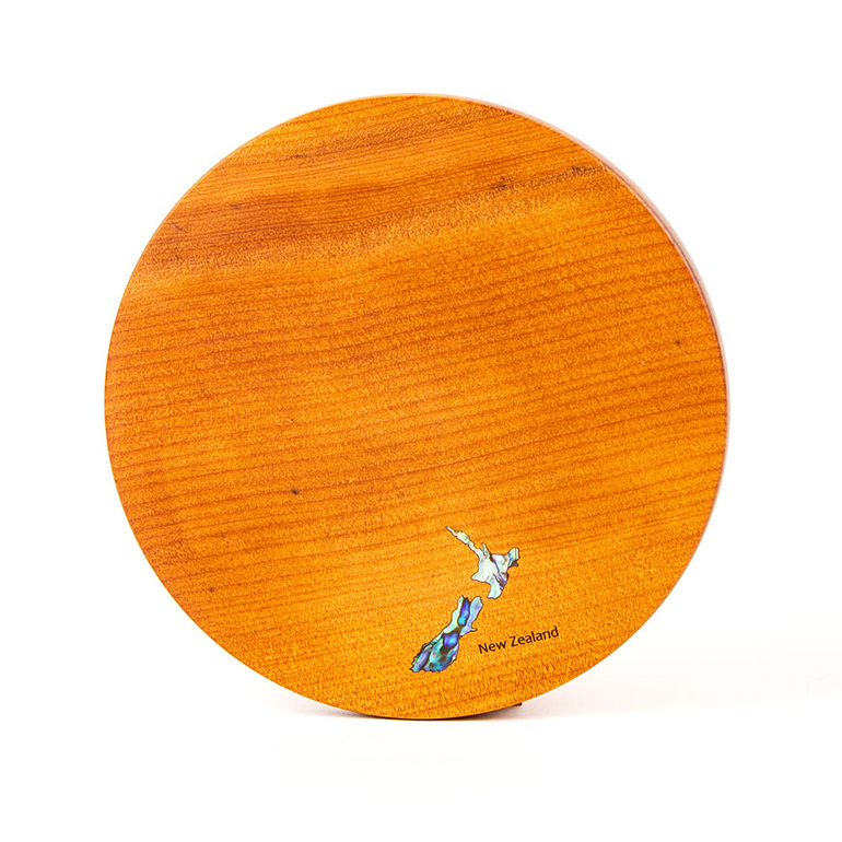 round cheese board - ancient kauri - map