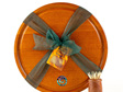 round cheese board with juice groove - paua koru - ancient kauri