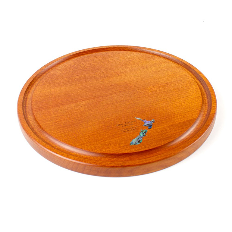 round cheese board with juice groove - Paua map - ancient kauri