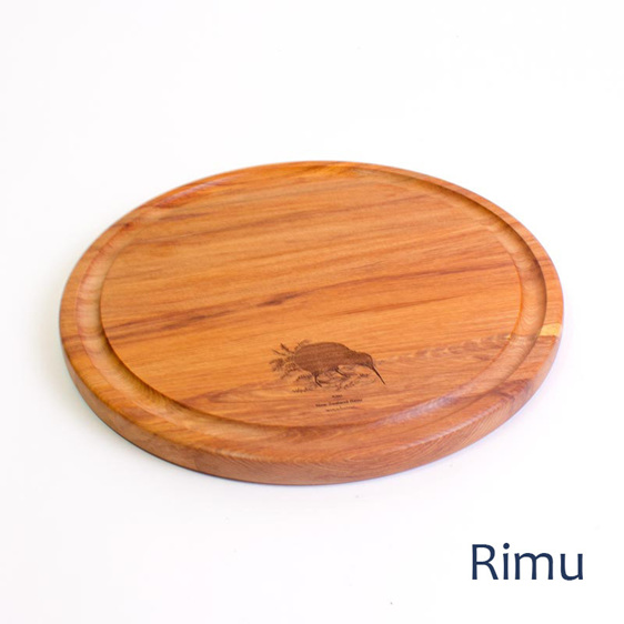 round cheese board with tui and ribbon