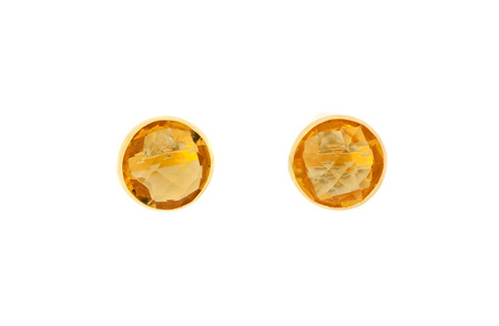 Round Citrine Yellow Gold Stud Earrings