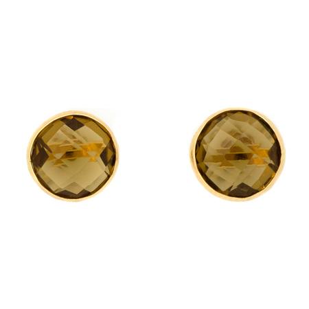 Round Cognac Quartz Yellow Gold Stud Earrings