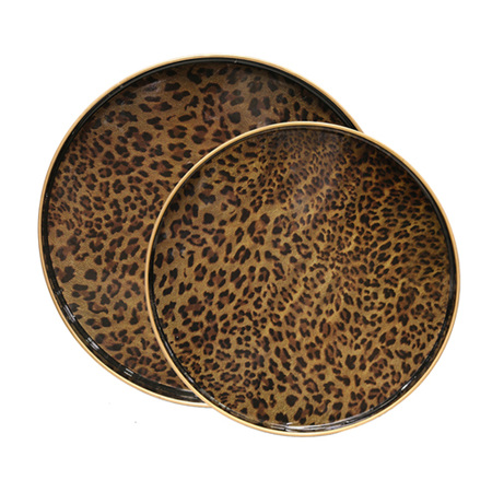 Round Leopard Print Tray - 2 sizes