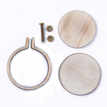 Round Mini Embroidery Hoop Lasercut Wood Frame Pendant