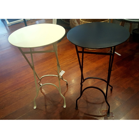 Round narrow side table with X legs
