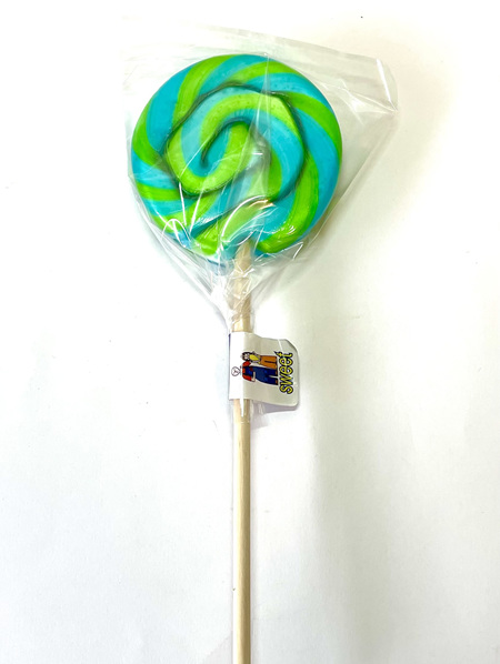 ROUND POP,  GREEN AND BLUE  STRIPES, WATERMELON FLAVOUR , 8CM