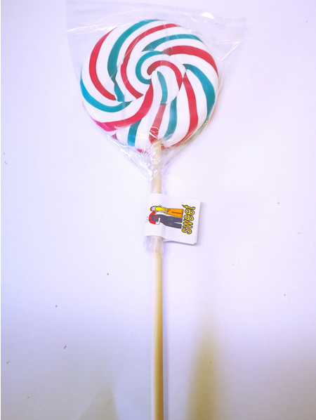 ROUND POP ,WHITE WITH PINK AND BLUE STRIPES  , CHERRY COLA  FLAVOUR , 8CM