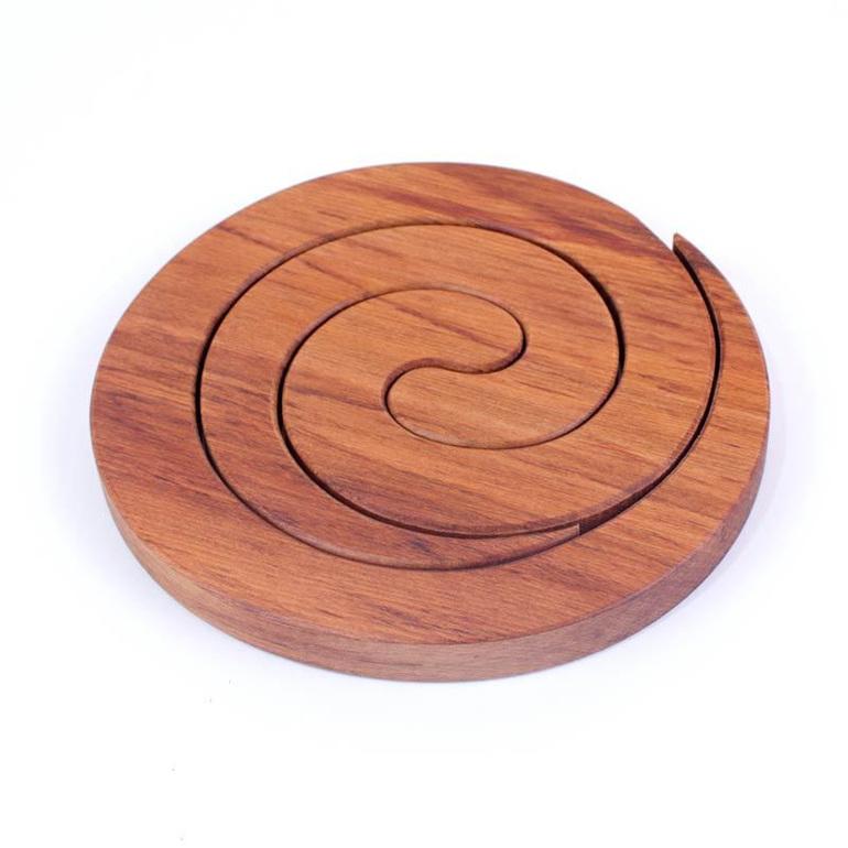 round spiral 2 in 1 table mat kauri