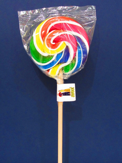 ROUND WHITE RAINBOW, COLA FLAVOUR POP. 8cm
