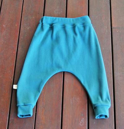 'Rowan' Harem Pants, 'Teal' GOTS Organic Cotton Knit, 6-9m