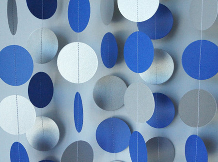 Royal blue and silver paper garland